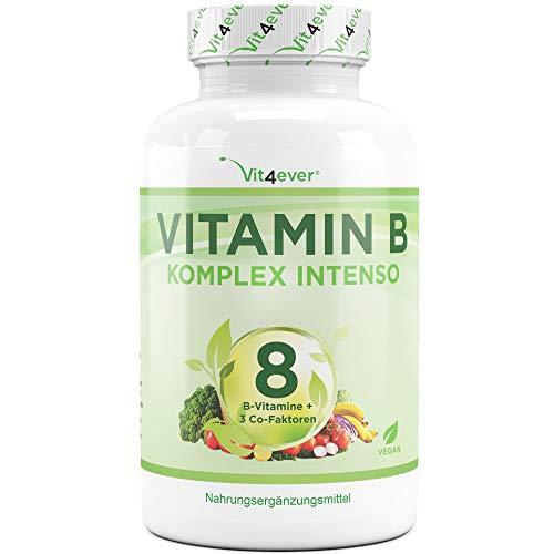 Vit4ever® Vitamin B Komplex Intenso - 180 Kapseln - 8 B-Vitamine + 3 Co-Faktoren - Bis zu 10-fach höher dosiert - Laborgeprüft - Hochdosiert - Vegan - Premium Qualität