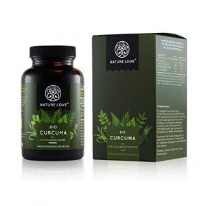 NATURE LOVE® Bio Curcuma – 240 Kapseln. 4540mg Kurkuma + schwarzer Pfeffer je Tagesdosis. Curcumin & Piperin. Laborgeprüft. hochdosiert, vegan, hergestellt in Deutschland