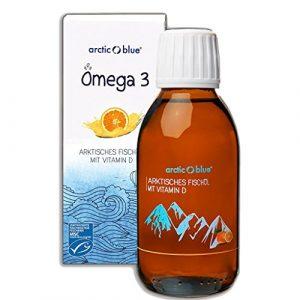 Arctic Blue® MSC Omega 3 Fischöl Fettsäuren mit Orangengeschmack mit Vitamin D – 1000mg Omega-3 pro Teelöffel- hochdosiert DHA & EPA | Jetzt online kaufen (150ml)