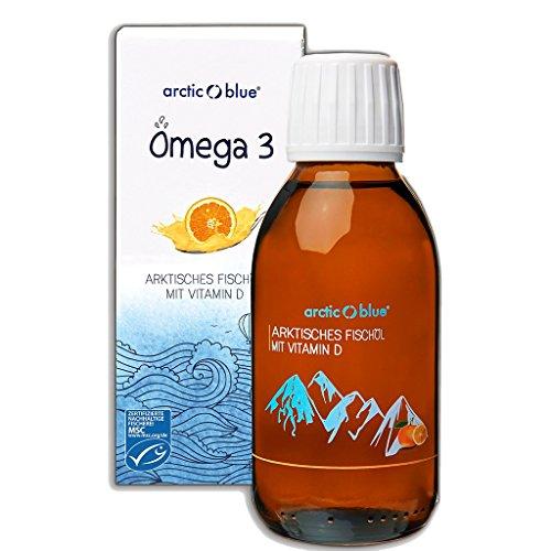Arctic Blue® MSC Omega 3 Fischöl Fettsäuren mit Orangengeschmack mit Vitamin D - 1000mg Omega-3 pro Teelöffel- hochdosiert DHA & EPA   Jetzt online kaufen (150ml)