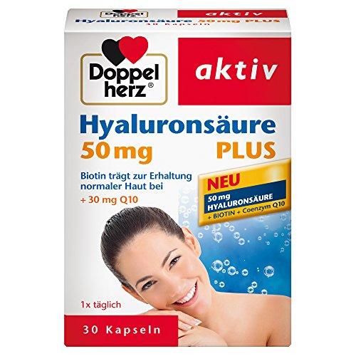 Doppelherz Hyaluronsäure 50 mg Plus - Mit Biotin zur Unterstützung der normalen Funktion der Haut - Plus Coenzym Q10 - 1 x 30 Kapseln