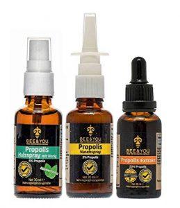 Bee&You Propolis Notfall-Paket (Propolis Tropfen mit 20% Naturlichem Propolis Extrakt, Propolis Nasenspray 5%, Propolis Halsspray mit honig 6%, für Kinder, Fairer Handel, Keine Zusatzstoffe)