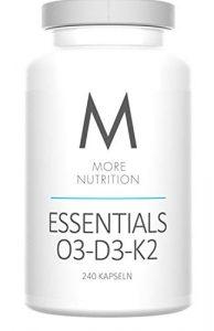 More Nutrition Essentials O3-D3-K2. Vitamin D3, K2 Und Omega 3 Fettsäuren. Fischöl Mit EPA & DHA Ohne Zusätze. 1 x 240 Kapseln. (Kapselhülle aus Rindergelatine)