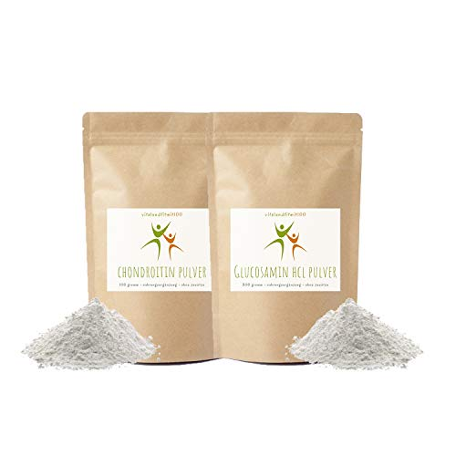 Chondroitin Pulver 100 g + Glucosamin HCL Pulver 300 g - ohne Zusätze