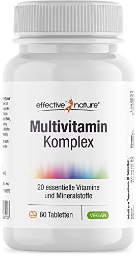 Effective nature Multivitamin Komplex | Mit Natürlichem Vitamin C Aus Der Acerola-Kirsche | Ohne Synthetische Zusätze |Enthält Alle B-Vitamine | 60 Tabletten