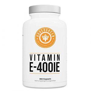 Vitamin E 400 IE. IU, JAHRESVORRAT von ADDEDGREEN, 365 hochdosierte Softgel Kapseln aus laborgeprüften Rohstoffen, Antioxidant