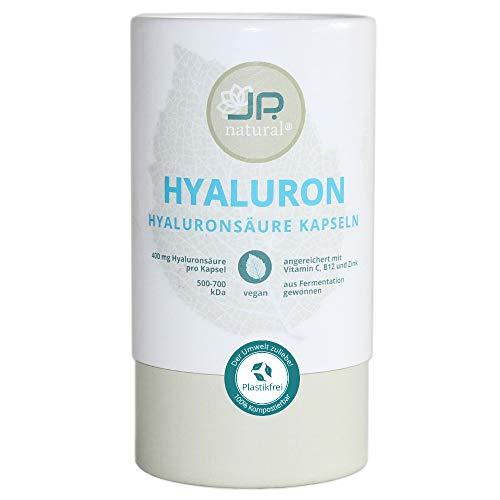 EINFÜHRUNGSANGEBOT - Hyaluronsäure Kapseln - 400mg + Vitamin C, Vitamin B12 und Zink - 100% kompostierbare Dose - 90 vegane Kapseln (3 Monate) - Für schöne Haut, Anti-Aging und Gelenke