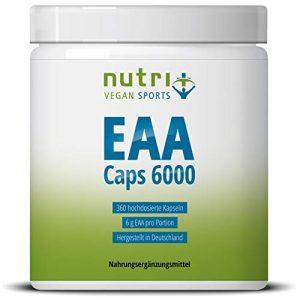 EAA Kapseln – 360 Mega Caps à 750mg – vegan & hochdosiert – 8 essenzielle Aminosäuren – EAAs 6000 (Essential Aminokapseln) – Proteinkapseln – Supplement hergestellt in Deutschland