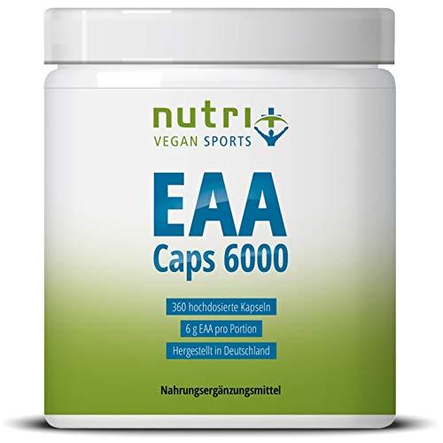 EAA Kapseln - 360 Mega Caps à 750mg - vegan & hochdosiert - 8 essenzielle Aminosäuren - EAAs 6000 (Essential Aminokapseln) - Proteinkapseln - Supplement hergestellt in Deutschland