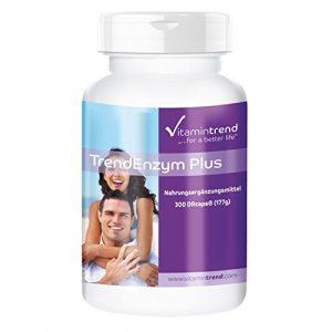 TrendEnzym Plus – 300 Kapseln – ! FÜR 3 MONATE ! – Enzym-Komplex mit Bromelain, Trypsin, Chymotrypsin und Rutosid