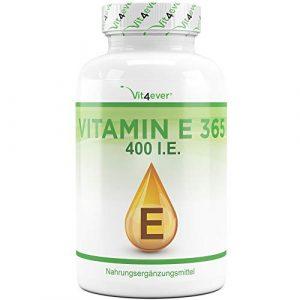 Vit4ever® Vitamin E 400 I.E. IU – 365 Softgel Kapseln – 12 Monatsvorrat – Natürliches Vitamin E aus Sonneblumen – Laborgeprüfte Qualität – Hochdosiert