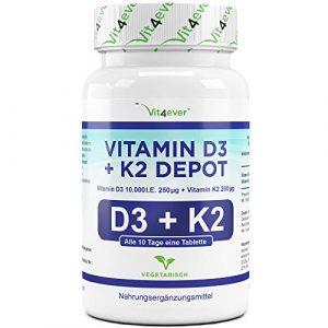 Vit4ever® Vitamin D3 10.000 I.E + Vitamin K2 200 mcg Menaquinon MK7 Depot – 180 Tabletten – 99% All-Trans – Laborgeprüft – Alle 10 Tage eine Tablette – Vegetarisch – Premium Qualität