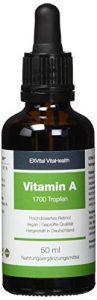 Vitamin A Tropfen von EXVital Vitahealth – 5000 I.E (1500 µg) pro Tagesdosis, 50 Ml= 1700 Tropfen, laborgeprüft, hochdosiertes Retinol – Vegan – Vitamin A flüssig Liquid, Hergestellt in Deutschland