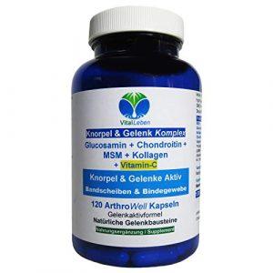 Knorpel & Gelenke Komplex + Vitamin-C 120 ArthroWell Gelenk-Kapseln – Natürliche Gelenkbausteine Glucosamin + Chondroitin + MSM + Kollagen. 26442-1