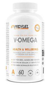Vegan Omega 3 Kapseln [1.100 mg] hochdosiert | Hochwertiges Omega 3 vegan mit hohem EPA & DHA Gehalt – besser als Fischölkapseln! V-OMEGA 60 Kapseln