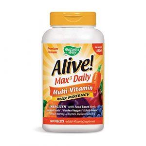 Nature 's Way Alive. Premium–Formel Max3Tägliche Multivitamin, kein Eisen hinzugefügt, 180Tabletten