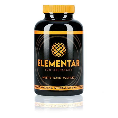 ELEMENTAR   Multivitamin - Komplex   Hochdosiert   Natürlich und organisch   Vitamine, Antioxidantien, Mineralien, Vitalstoffe, Aminosäuren   300 Kapseln   Made in Germany