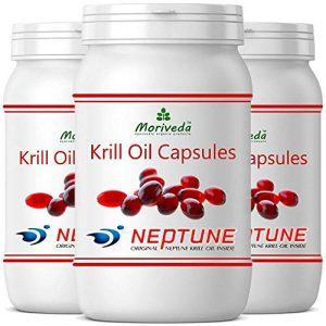 Krillöl Kapseln 270 oder 90, 100% reines NEPTUNE Premium Krill Öl – Omega 3,6,9 Astaxanthin, Phospholipide, Choline, Vitamin-E – Markenqualität von MoriVeda (3×90)