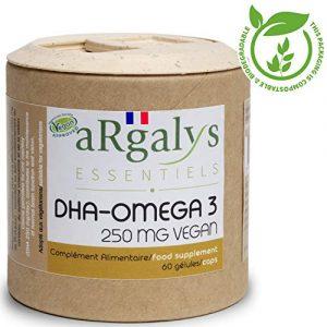 Omega 3 vegan I Algenöl I Natürlich I Vegan I 60 Kapseln I 250 mg DHA/Kapsel (+ EPA) I Hergestellt in Frankreich von Argalys Essentiels