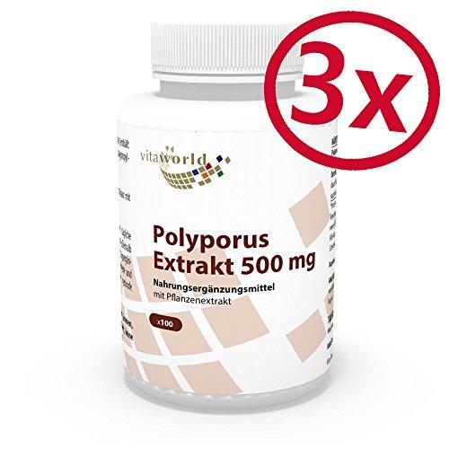 3er Pack Vita World Polyporus Extrakt 500mg 300 Kapseln Apotheker-Herstellung