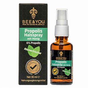 Bee&You Propolis Halsspray mit Honig (6%) 30 ml (Wohltuende Zusammenmischung, Fairer Handel, Natürliche & kontrollierte Zutaten)