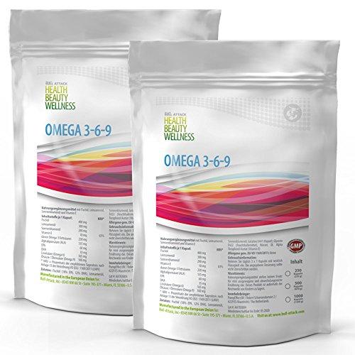 Omega 3 6 9 (1000 Softgel Kapseln á 1000mg) 3-6-9   Fischöl   Leinöl   Sonnenblumenöl   Gesunde Fettsäuren   Preishammer