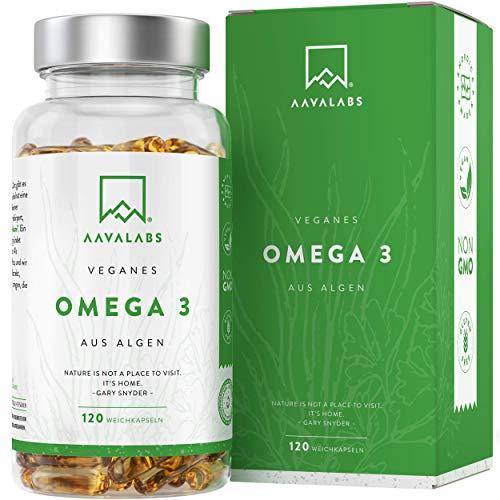 Omega 3 Vegan [1100 mg ] - Omega-3-Fettsäuren aus Algenöl - 300 EPA and 600 DHA pro Tagesdosis - 100% pflanzlich - Unterstützt normale Gehirnleistung & Sehkraft - 120 Kapseln