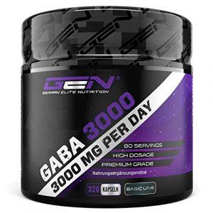 GABA 3000 – 320 Kapseln a 750 mg – Gamma Aminobuttersäure -Hochdosiert mit 3000 mg pro Tagesportion – Aminosäure – Premium Qualität – German Elite Nutrition