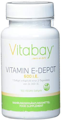 Vitamin E 600 DEPOT - D-Alpha Tocopherol Hochdosiert - 300 I.E. pro Tag - Vegane Softgels (100 vegane Softgels)