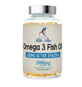 Omega 3 Fischöl, 2000mg, 365 soft Gel Kapseln von Rite-Flex