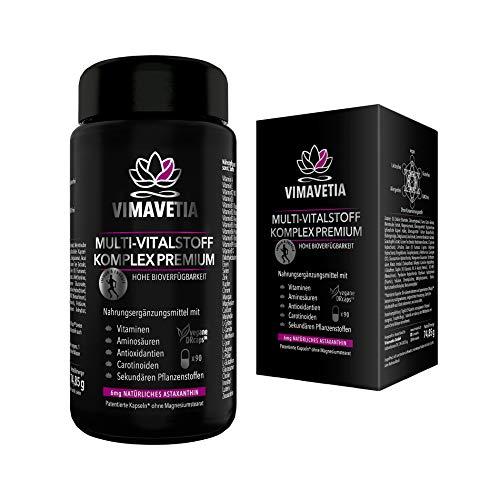 VIMAVETIA MULTI-VITALSTOFF KOMPLEX PREMIUM- Natürliches Astaxanthin 6mg, Collagen Booster Vegan, Augen Vitamine & Sehkraft, Vitamin B Komplex, C, D3 + K2 MK7, OPC, Aminosäuren, 90 DRCaps, Laborgeprüft