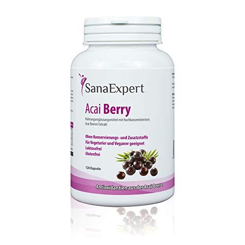SanaExpert Acai Berry, Nahrungsergänzung mit reinem Açaí-Beeren-Extrakt und Antioxidantien, vegan, ohne Zusätze und made in Germany, 120 Kapseln