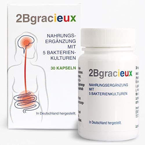 2Bgracieux Nahrungsergänzung, Auswahl hochdosierter Darmbakterien-Kulturen zur natürlichen Unterstützung der Darmflora bei Gewichtsreduktion, Programm zum Abnehmen, vegan mit Guarana, 30 Kapseln