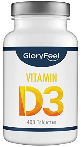 GloryFeel® Vitamin D3 1000 IE Hochdosiert - 400 Tabletten für über 1 Jahr - Unterstützt Knochen-, Muskel- und Immunsystemfunktion - Laborgeprüft und ohne Zusätze hergestellt in Deutschland
