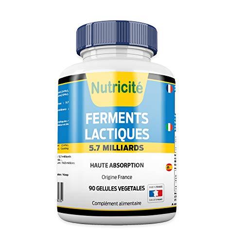 Milchsäurefermente Probiotika 90 Kapseln nutricite-bio -Effizienz-Erhöhung der Energie-Französische Qualität- Nahrungsergänzungsmittel