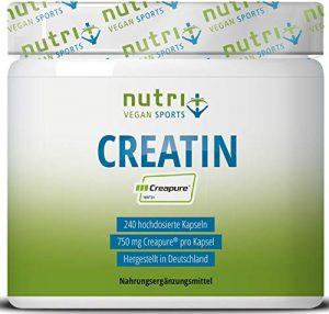 Creatin Creapure 240 Kapseln – CREATINE-MONOHYDRAT – 99,99% rein – höchste Dosierung – Nutri-Plus Vegan Kreatin Caps – 750mg Creatinmonohydrat pro Creatinkapsel – Made in Germany