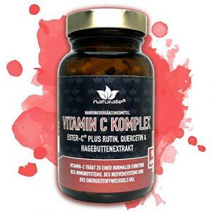Vitamin C Kapseln hochdosiert mit ESTER C – Vitamin C im Komplex mit Hagebuttenextrakt, Ester-C und Antioxidantien – Markenqualität im weichmacherfreien Glasbehälter – ohne unnötige Zusatzstoffe