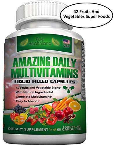 Täglich mit Multivitamin-Flüssigkeit gefüllte Kapseln. Einfach zu absorbieren Best Food Based Natural Multivitamins Supplement mit einer Mischung aus 42 Obst Gemüse Super Foods
