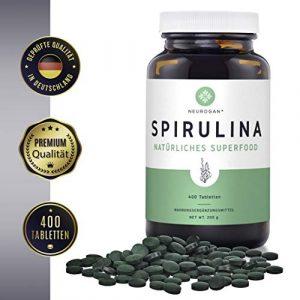 NEUROGAN´s Spirulina-Tabletten (400 Stück) hochdosiert / 500mg pro Tablette / geschmacklos & vegan & natürlich / Superfood – reich an Vitaminen, Mineralien und Protein