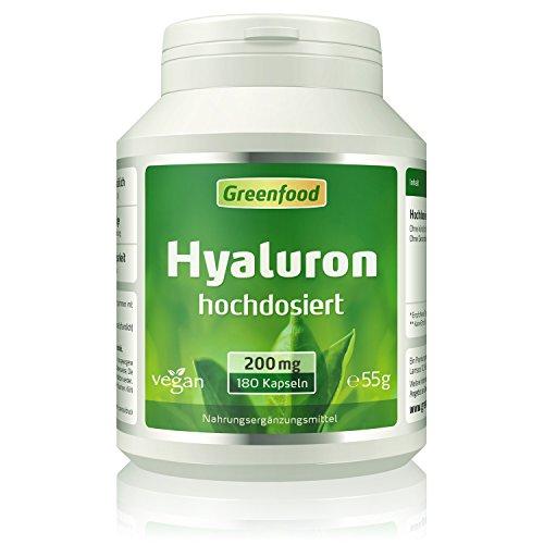 Hyaluron, 200 mg reines Hyaluron (!), extra hochdosiert, vegan, 180 Vegi-Kapseln - OHNE künstliche Zusätze. Ohne Gentechnik. Vegan.