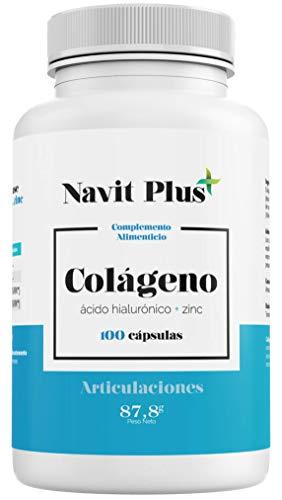 Hydrolysiertes Kollagen VERISOL ® | 100 Kapseln Kollagen + Hyaluronsäure + Vitamin C + Zink | PREMIUM Nahrungsergänzungsmittel für jüngere Haut und Gelenke | In Europa hergestellt | NAVIT PLUS.