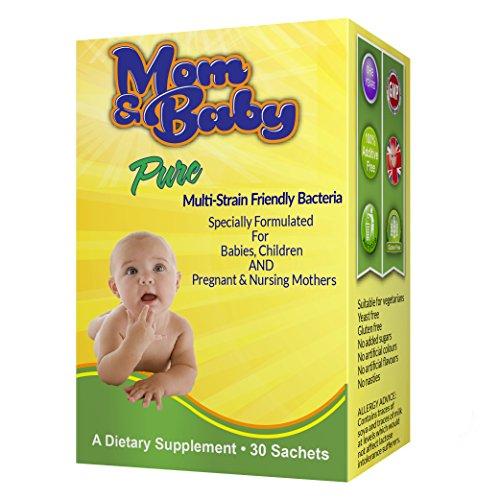 Mom und Baby Pure Multi Bakterienstämme in Pulverform zur einfachen Einnahme - Sichere Anwendung für Säuglinge, Kleinkinder und Kinder für Darmflora und Immunsystem- 1 Milliarde nützliche Bakterien wie Lactobacillus Acidophilus - Gut während der Schwangerschaft und für stillende Mütter- 30 Beutel (1 pro Tag) - ohne Zusatzstoffe - #1 Hochwertige Bakterienkultur für Kinder