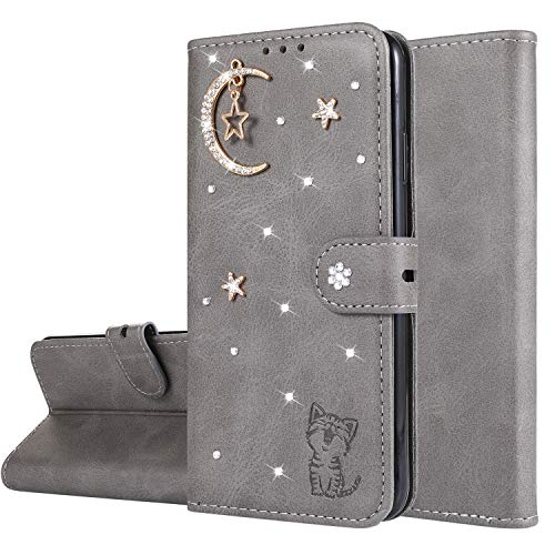 Miagon Diamant Brieftasche Hülle für Huawei Mate 20 Pro,Mond Star Katze 3D Design PU Leder Flip Handyhülle Klapphülle Klappbar Silikon Bumper Schutzhülle,Grau