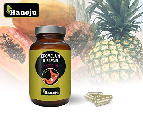 Hanoju Bromelain + Papain 370 mg 90 Kapseln - Nahrungsergänzungsmittel mit den Enzymen Bromelain und Papain