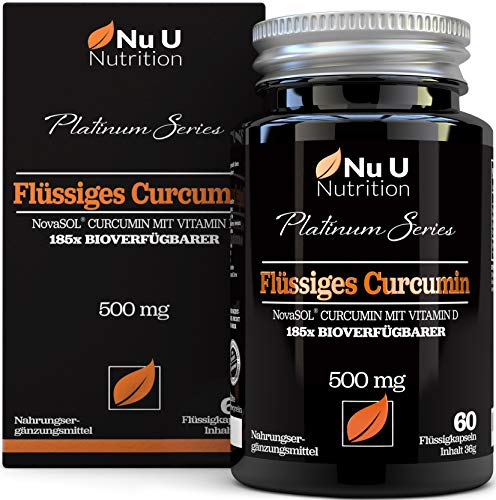 Kurkuma (curcuma) Kapseln (flüssig) mit Vitamin D   185x stärkere Bioverfügbarkeit NovaSOL® Curcumin   Hochdosiert vegetarisch Premium flüssiges Curcumin kapseln hochdosiert