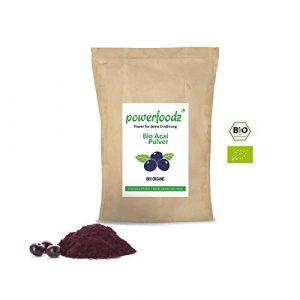 Powerfoodz Bio Acai Pulver 250g – natürliche Bio Qualität – Pulver aus der Acai Beere ideal für Diabetiker & reich an Antioxidantien