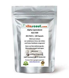 180 Kapseln Alpha Liponsäure ALA á 250mg Antioxidantien – Anti Aging – Fettverbrennung – Lipon