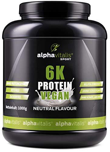 PROTEINPULVER Neutral - 6K Protein VEGAN 1 Kg - 82,9% Eiweißgehalt - ohne Süßstoff - zuckerfrei & fettfrei - natürlich auch zum Kochen und Backen