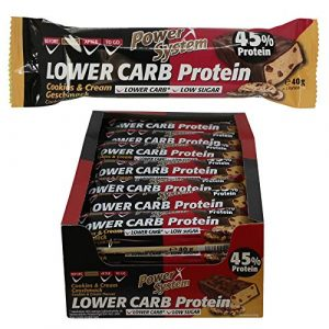 Power System LOW er CARB Protein Riegel mit 45% Eiweiss – Bar 24 x 40g (Cookie & Cream)