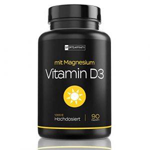 Vitamin D3 [Mit Magnesium] » Für Hohe Bioverfügbarkeit « Vitamin D 3 Hochdosiert 1000 ie Tabletten/Pillen – Sonnenvitamin/Vitamine – Cholecalciferol – in 90 Kapseln (vegan)